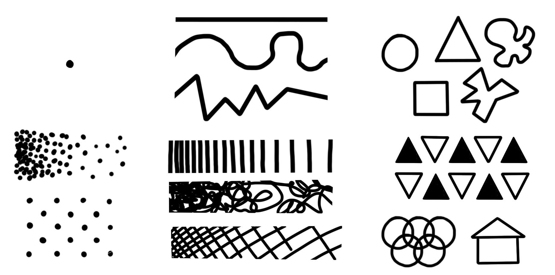 dots, lines, shapes